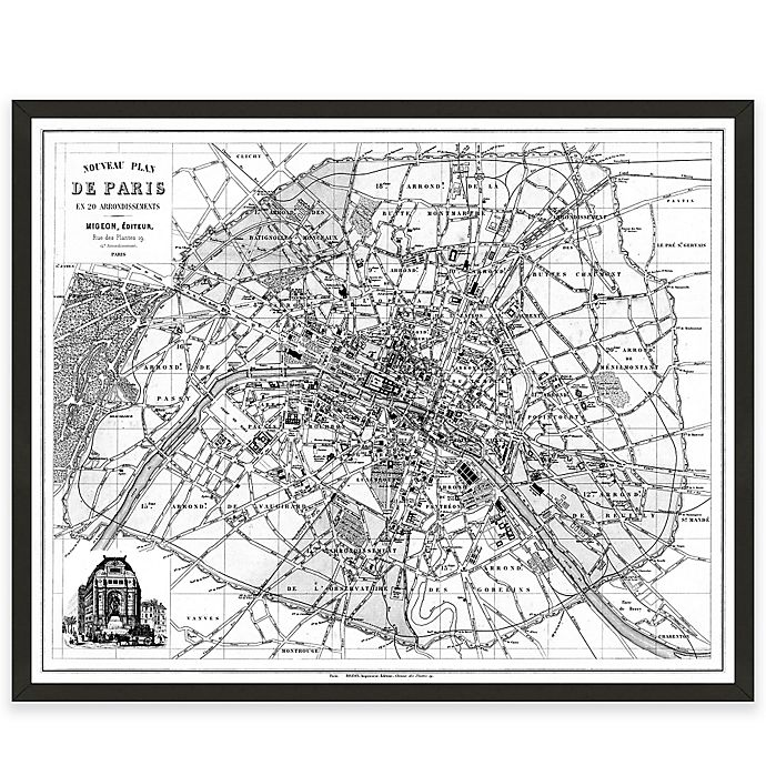 Paris Map Black And White.Black And White Paris Map Canvas Wall Art Bed Bath And Beyond Canada