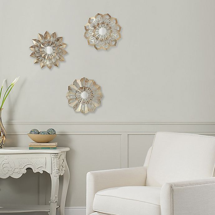 Metal Flower Wall Art in Ivory/Gold (Set of 3) | Bed Bath ...