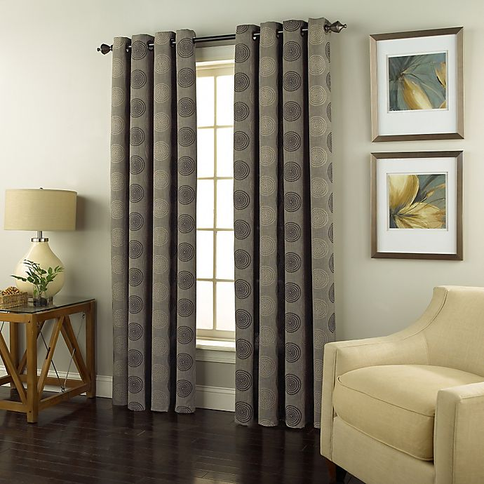 Alternate image 1 for Spiral 84-Inch Grommet Top Window Curtain Panel in Charcoal