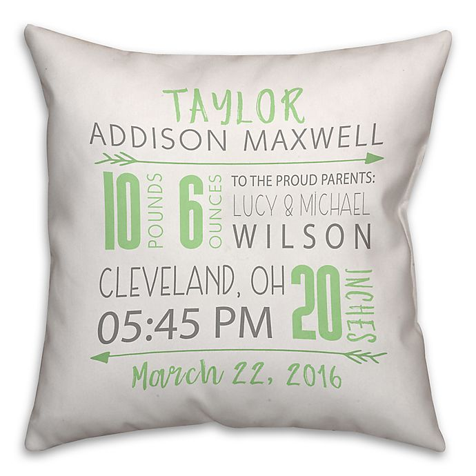 Alternate image 1 for Birth Announcement Pillow