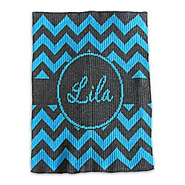 Butterscotch Blankees Chevron with Banner Blanket in Charcoal/Turquoise
