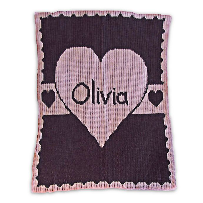 Alternate image 1 for Butterscotch Blankees Heart with Banner Blanket in Pale Pink/Charcoal