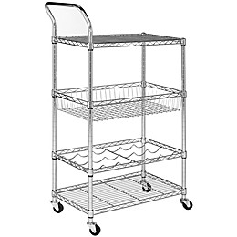 Safavieh Carmen 4-Tier Wire Adjustable Cart in Chrome