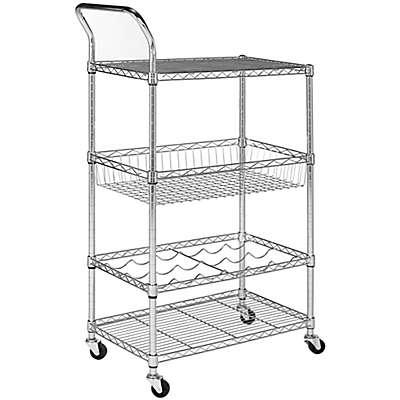 Safavieh Carmen 4-Tier Wire Adjustable Cart in Chrome
