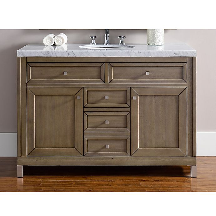 Alternate image 1 for James Martin Furniture Chicago 48-Inch Single Vanity in White Washed Walnut with Carrara Marble Top