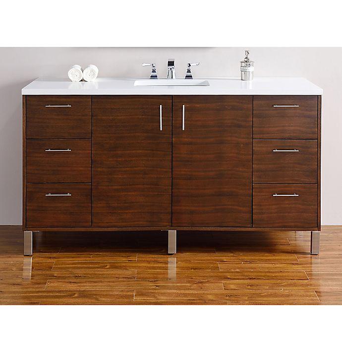 Alternate image 1 for James Martin Furniture 60-Inch Metropolitan Single Vanity in Walnut with 3 cm  Quartz Top in White