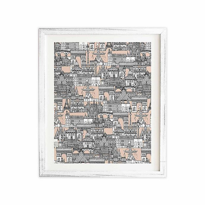 Alternate image 1 for Deny Designs 19-Inch x 22.4-Inch Paris Toile Sugar Pink Framed Wall Art