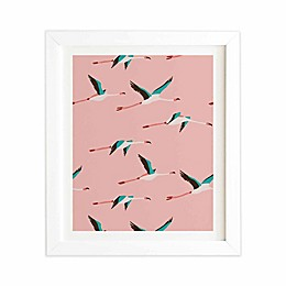 Deny Designs 14-Inch x 16.5-Inch Flamingo Pink Framed Wall Art