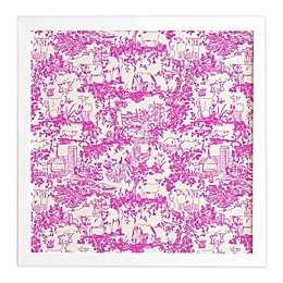 Deny Designs 12-Inch x 12-Inch Farm Land Toile Framed Wall Art in Pink