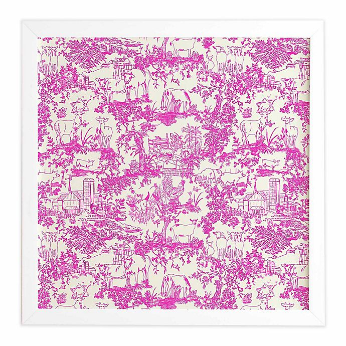 Alternate image 1 for Deny Designs 30-Inch x 30-Inch Farm Land Toile Framed Wall Art in Pink