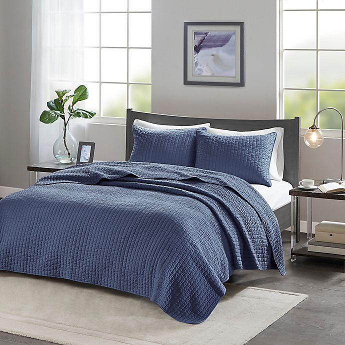 Alternate image 1 for Madison Park Keaton King/California King Coverlet Set in Navy