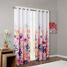 Intelligent Design Olivia Printed Blackout 84-Inch Window Curtain Panel in Pink