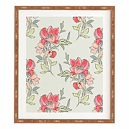Deny Designs 11-Inch x 13-Inch Vintage Floral Dot On Dot Green Framed Wall Art