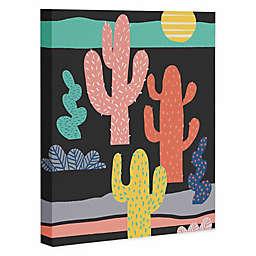Deny Designs Night Cactus Canvas Art