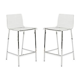 Eurostyle™ Chloe Stools in Clear/Chrome (Set of 2)