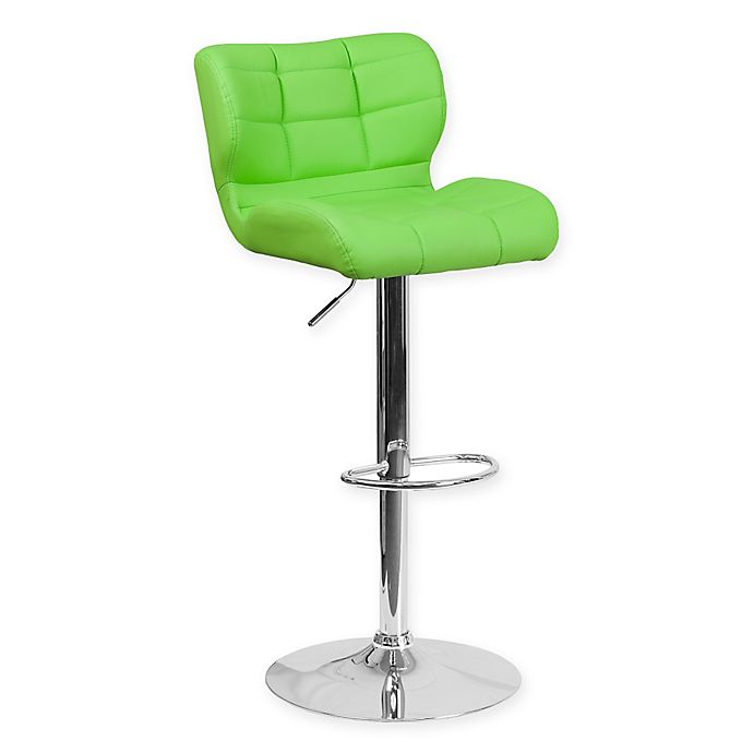 Alternate image 1 for Flash Furniture Tufted Adjustable Height Bar Stool in Green