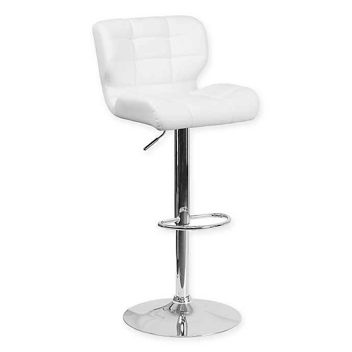 Alternate image 1 for Flash Furniture Tufted Adjustable Height Bar Stool in White