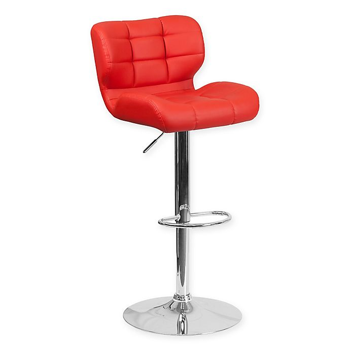 Alternate image 1 for Flash Furniture Tufted Adjustable Height Bar Stool in Red