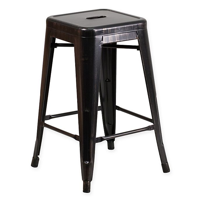Alternate image 1 for Flash Furniture 24-Inch Backless Metal Stool with Square Seat in Black/Antique Gold