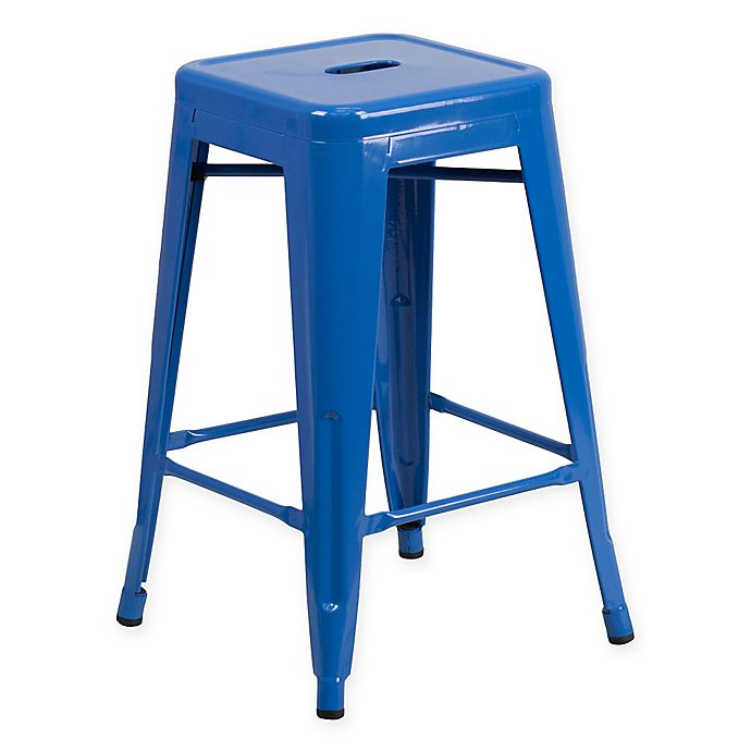 Alternate image 1 for Flash Furniture 24-Inch Backless Metal Stool with Square Seat in Blue
