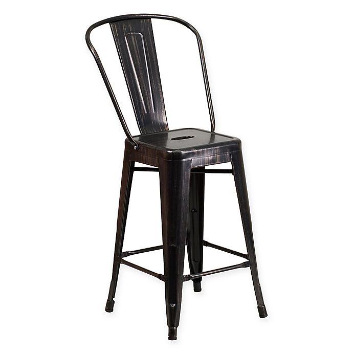 Alternate image 1 for Flash Furniture 24-Inch Indoor/Outdoor Metal Stool in Black/Antique Gold