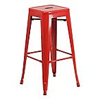 Flash Furniture Backless Square Metal Bar Stool in Red