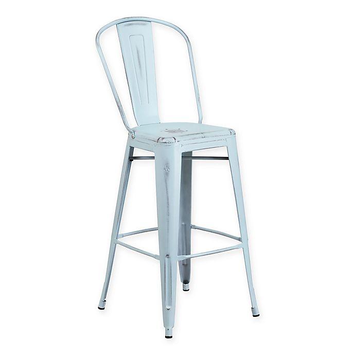 Alternate image 1 for Flash Furniture Metal Distressed Back Bar Stool in Blue