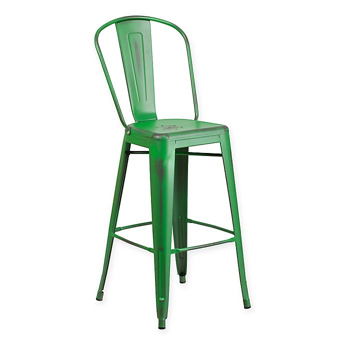 Alternate image 1 for Flash Furniture Metal Distressed Back Bar Stool in Green