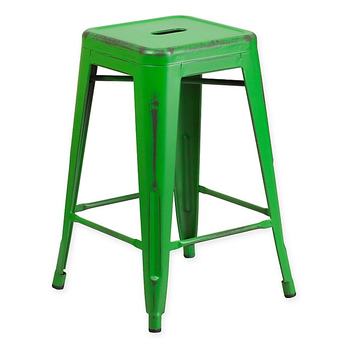 Alternate image 1 for Flash Furniture 24-Inch Backless Distressed Counter Stool in Green