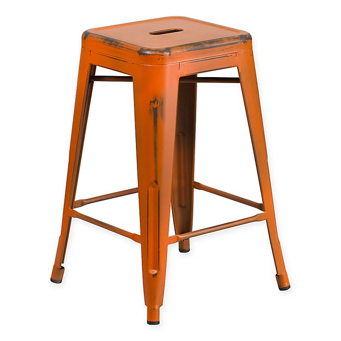 Alternate image 1 for Flash Furniture 24-Inch Backless Distressed Counter Stool in Orange