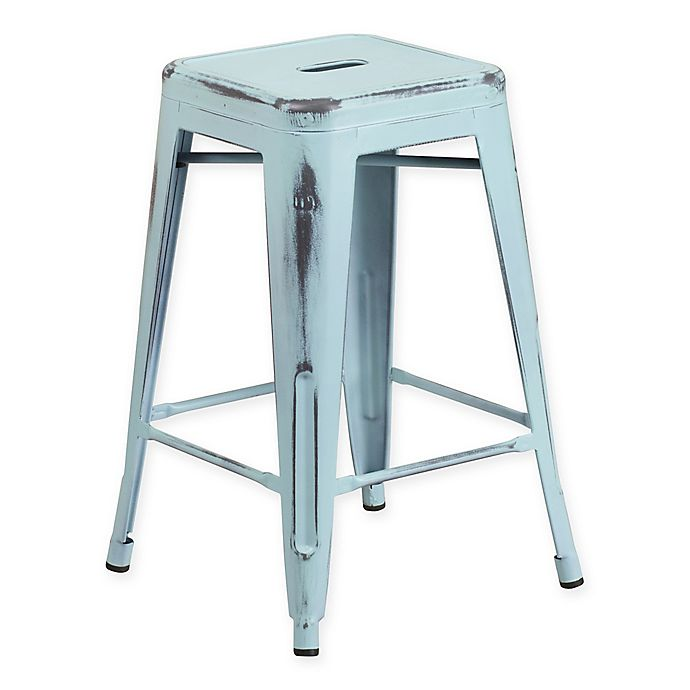 Stupendous Flash Furniture Backless Distressed Stool Bed Bath Beyond Pdpeps Interior Chair Design Pdpepsorg