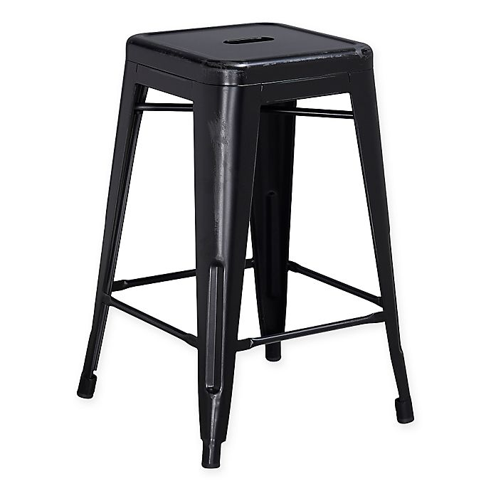 Alternate image 1 for Flash Furniture 24-Inch Backless Distressed Counter Stool in Black