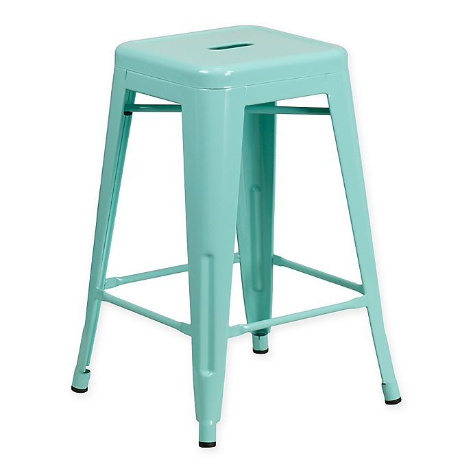 Alternate image 1 for Flash Furniture 24-Inch Backless Indoor-Outdoor Counter Stool in Mint Green