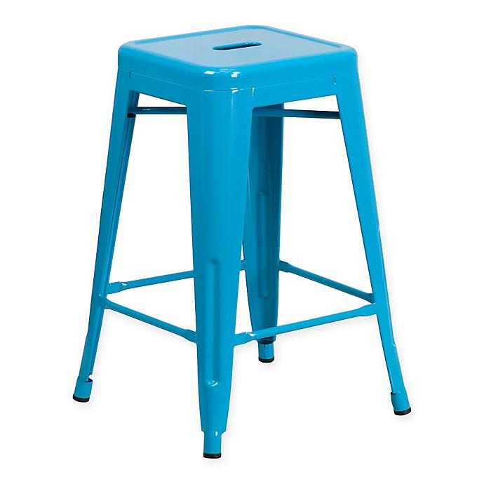 Alternate image 1 for Flash Furniture 24-Inch Backless Counter Stool in Crystal Blue