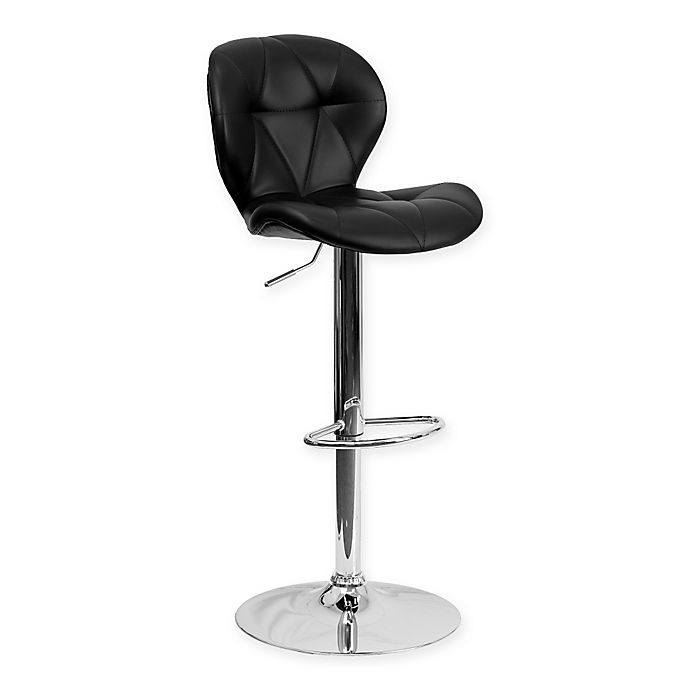 Alternate image 1 for Flash Furniture Tufted Adjustable Height Bar Stool in Black