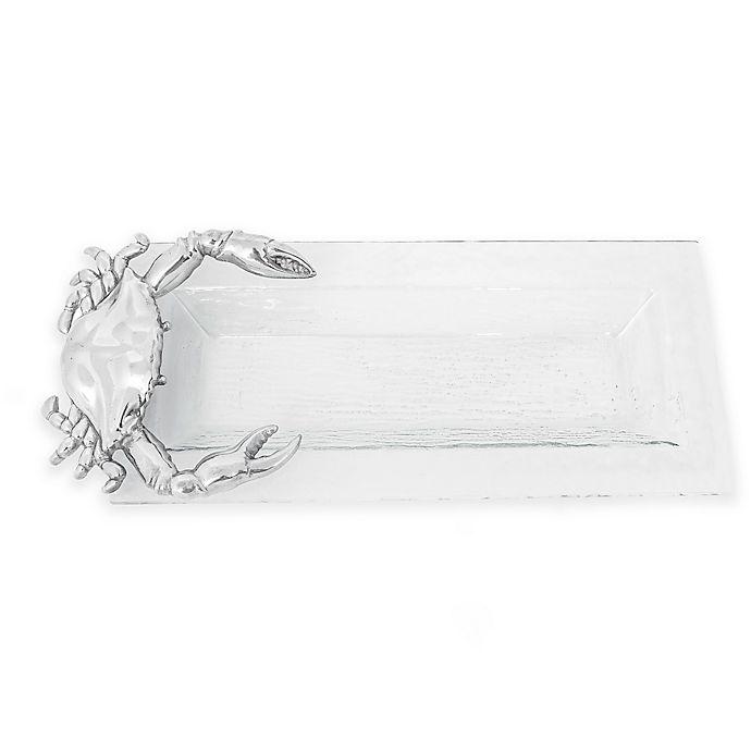 Alternate image 1 for Arthur Court Designs Coastal Crab Oblong Glass Tray
