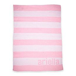 Simple Stripe Stroller Blanket in White/Pink