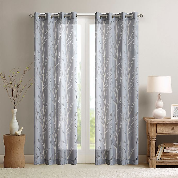 Alternate image 1 for Madison Park Averil Sheer Bird 63-Inch Window Curtain Panel in Grey