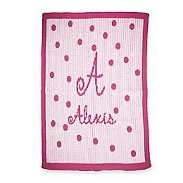 Butterscotch Blankees Precious Polka Dot Knit Stroller Blanket in Pink