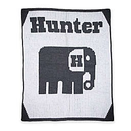 Butterscotch Blankees Elephant Knit Stroller Blanket in White/Charcoal