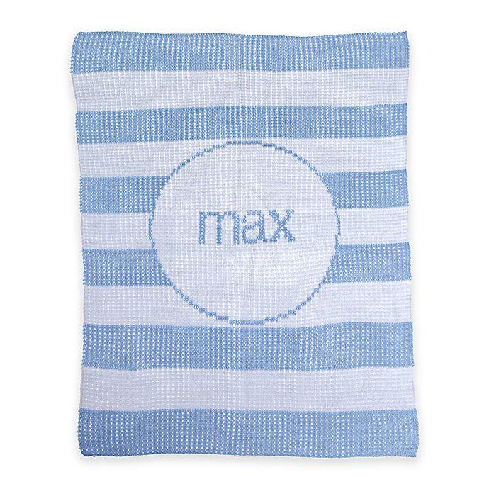 Alternate image 1 for Butterscotch Blankees Modern Stripe Knit Stroller Blanket in White/Light Blue