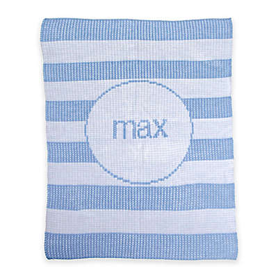Butterscotch Blankees Modern Stripe Knit Stroller Blanket in White/Light Blue