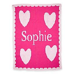 Butterscotch Blankees Floating Heart and Scalloped Knit Stroller Blanket in Fuchsia/White