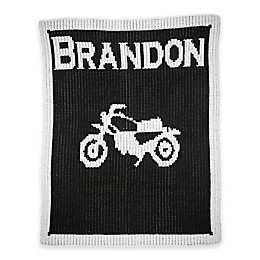 Butterscotch Blankees Vintage Motorcycle Knit Stroller Blanket in Black/White