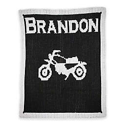 Butterscotch Blankees Vintage Motorcycle Knit Stroller Blanket in Black/White