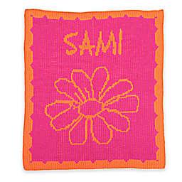 Butterscotch Blankees Flower and Scalloped Edge Knit Stroller Blanket in Fuchsia/Orange