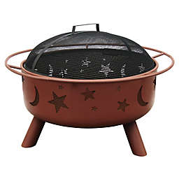 Landmann USA 29-Inch Big Sky Stars & Moons Fire Pit with Shallow Bowl in Clay