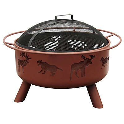 Landmann USA 29-Inch Big Sky Wildlife Fire Pit with Shallow Bowl in Black