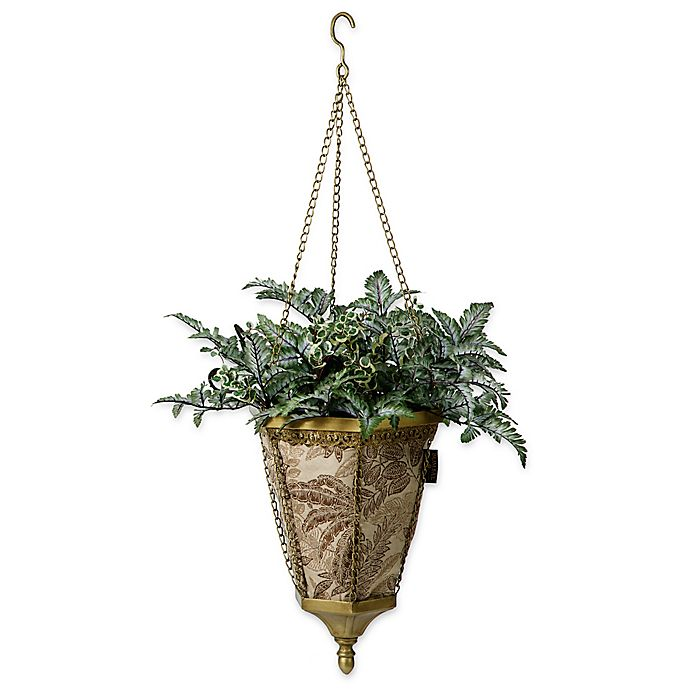 Alternate image 1 for Bombay® Outdoor Naya Hanging Fabric Planter with Palmetto Mocha Liner in Gold/Mocha