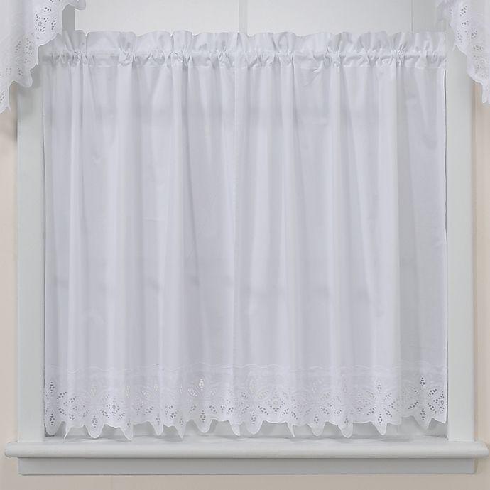 Kaitlyn Kitchen Window Curtain Tier Pair In White